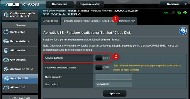 Activează partajarea unității USB de pe routerul ASUS