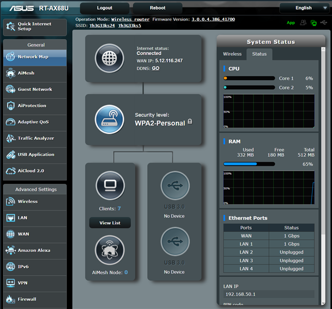 Firmware-ul de pe ASUS RT-AX68U