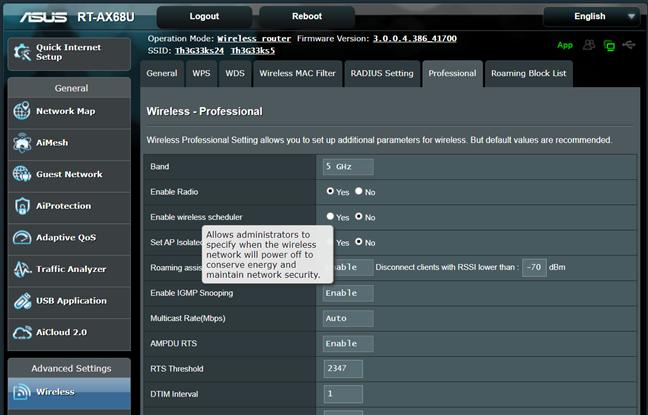 Află mai multe informații despre o setare pe ASUS RT-AX68U