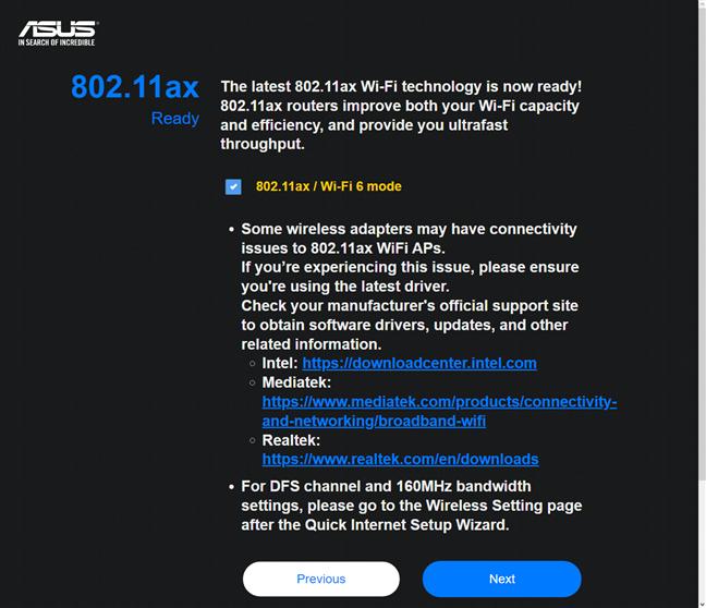 Activarea Wi-Fi 6 pe routerul ASUS RT-AX82U
