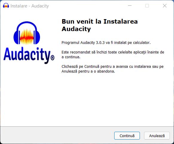 Instalează Audacity