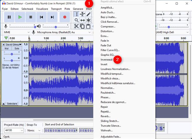 Cum inversezi o melodie în Audacity