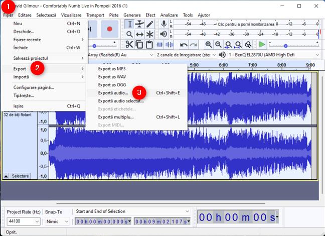 Alege Exportă audio
