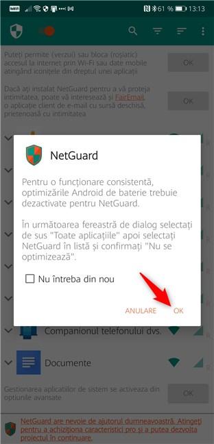 Optimizările de baterie pentru NetGuard ar trebui să fie dezactivate