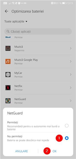 Nu permiteți telefonului cu Android să optimizeze consumul de baterie al NetGuard