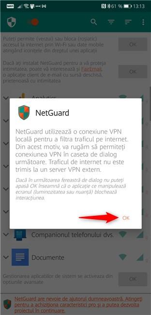 NetGuard folosește un VPN local pentru a filtra traficul de internet