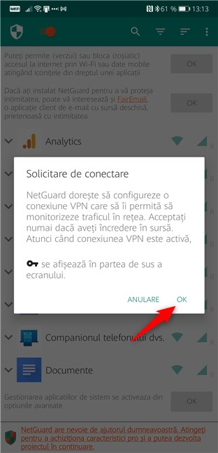 NetGuard cere permisiunea de a crea un VPN