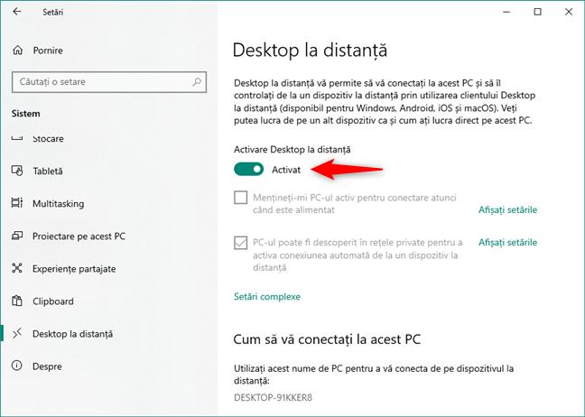 Comutatorul Activare Desktop la distanță din secțiunea Desktop la distanță