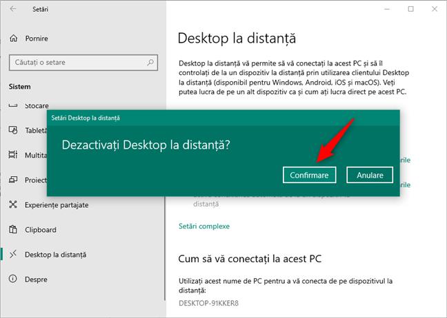 Dezactivați Desktop la distanță