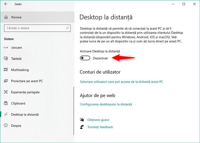 Conexiunile Desktop la distanță sunt oprite în Windows 10
