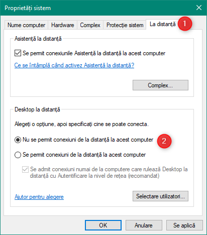 Nu se permit conexiuni de la distanță la acest computer