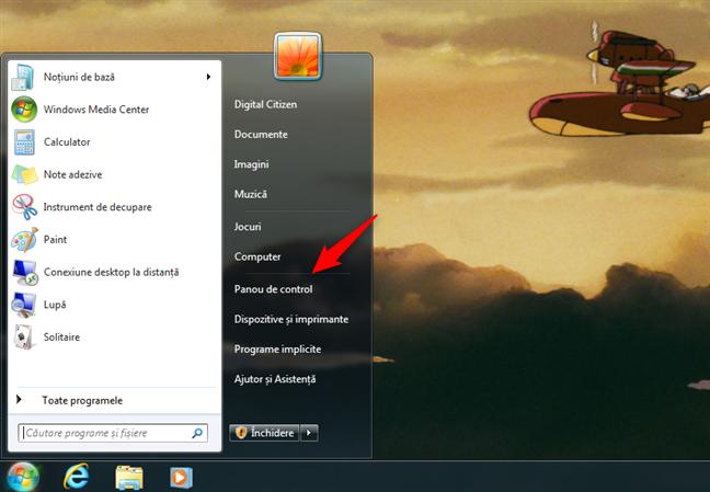 Deschidere Panou de control în Windows 7