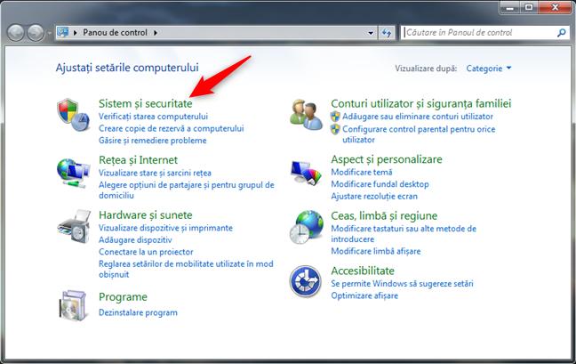 Categoria de setări pentru Sistem și securitate din Windows 7