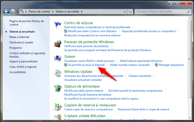 Se permite accesul la distanță în Windows 7