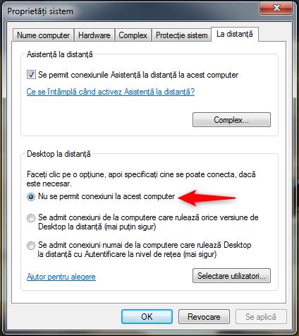 Nu se permit conexiuni la acest computer
