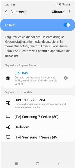 Asocierea Bluetooth din Android este stabilită cu succes pe Samsung