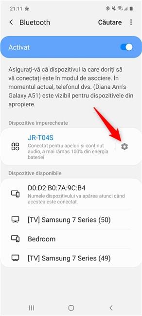 Apasă pe rotița dințată din dreptul dispozitivului Bluetooth pe care vrei să-l modifici pe Android