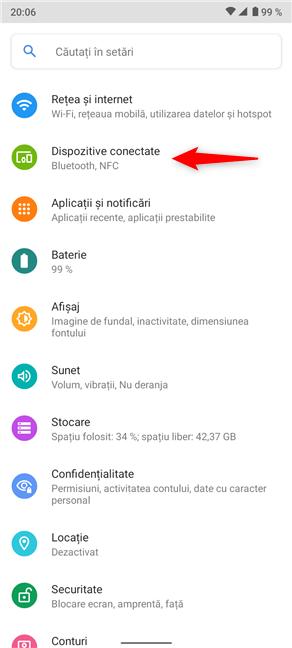 Pentru a începe asocierea Bluetooth pe Android, accesează Dispozitive conectate