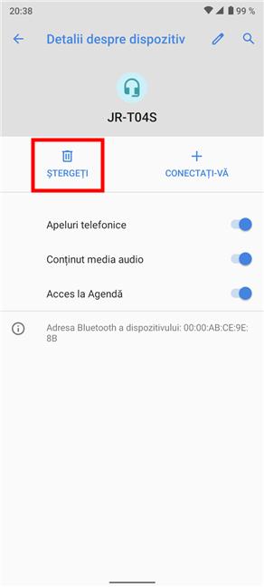 Cum elimini un dispozitiv Bluetooth de pe Android