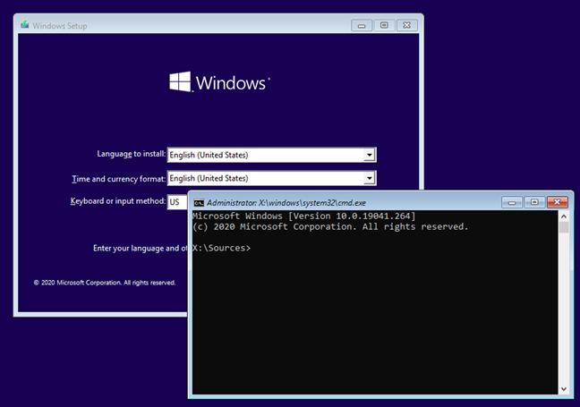 Combinația de taste Shift + F10 pentru deschiderea Liniei de comandă la boot
