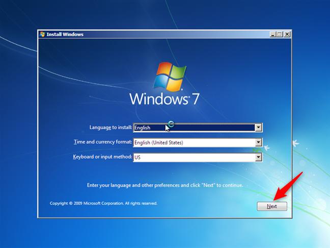 Expertul de instalare Windows 7
