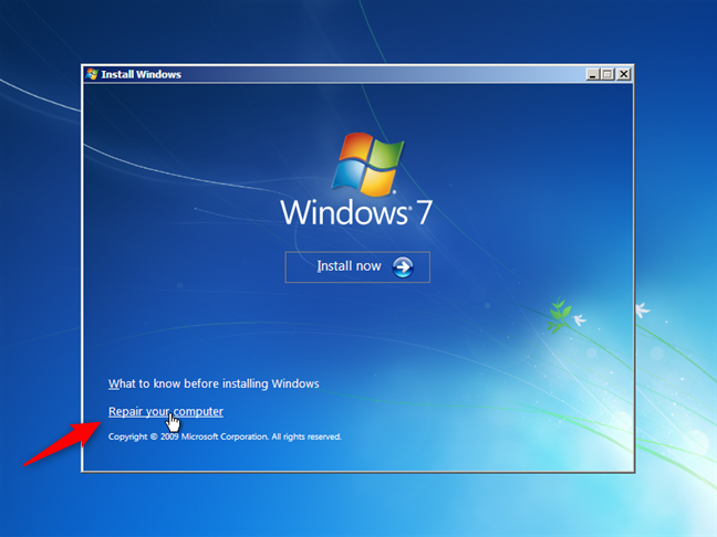 Repair your computer în Windows 7