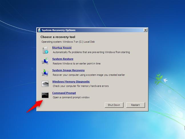 Deschiderea Liniei de comandă în timpul instalării Windows 7