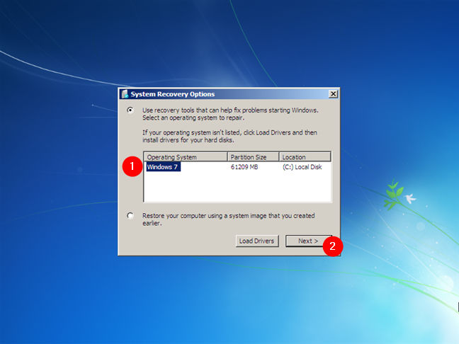 System Recovery Options (Opțiuni de recuperare sistem) în Windows 7