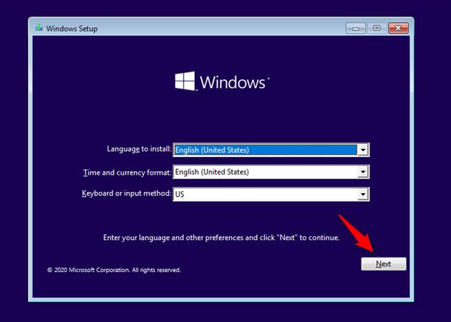 Expertul de instalare Windows