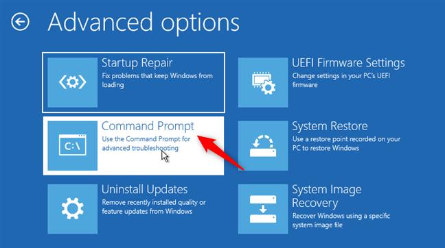 Deschiderea Command Prompt (Linia de comandă) înainte de pornirea Windows