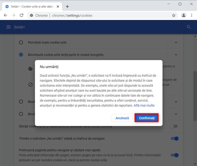 Confirmă pentru a activa Nu urmări în Google Chrome