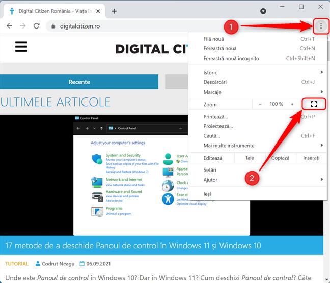 Setează Google Chrome să ruleze în modul Ecran complet