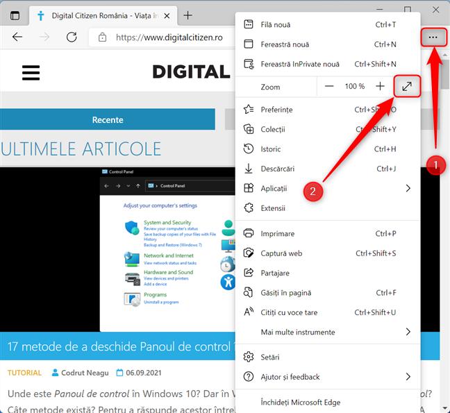Setează Microsoft Edge să ruleze în modul Ecran complet