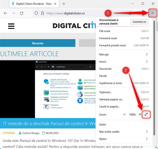 Setează Mozilla Firefox să ruleze în modul Ecran complet