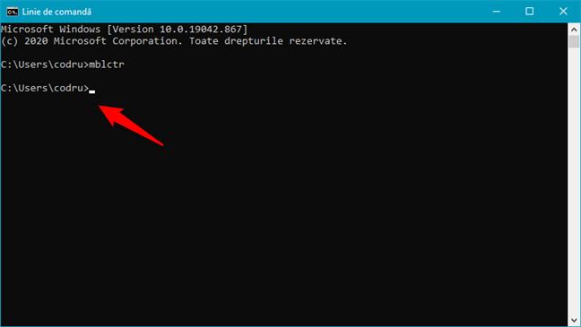 Executarea comenzii mblctr în CMD pentru a deschide Cntrul Windows pentru mobilitate