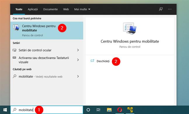 Cum deschizi Centrul Windows pentru mobilitate în Windows 10 folosind căutarea