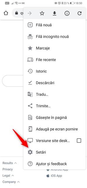 Deschide Setări în Google Chrome pentru Android