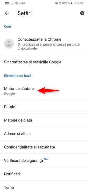 Accesează motorul de căutare în Google Chrome pentru Android