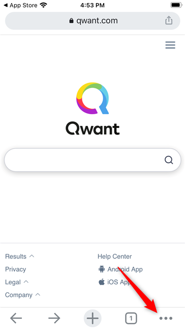 Deschiderea meniului de setări și opțiuni Chrome pentru iOS