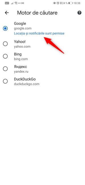 Selectează motorul de căutare pentru Google Chrome pentru Android