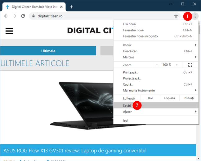 Accesează setările din Google Chrome pentru Windows