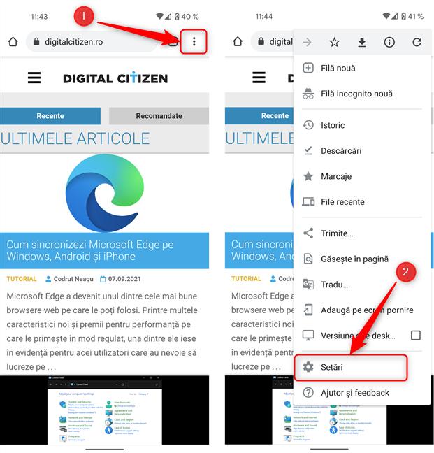 Apasă butonul Setări din meniul browserului