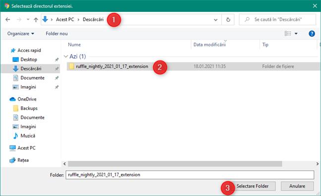 Selectarea folderului în care se află extensia Ruffle