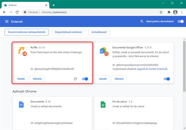 Extensia Chrome Ruffle pentru Flash este activată