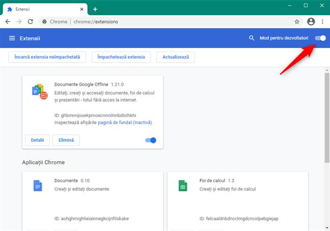 Activare Mod pentru dezvoltatori în Chrome