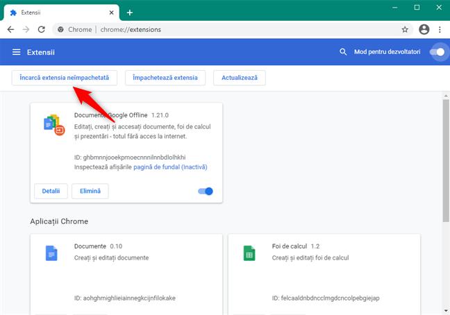 Încărcarea extensiei Ruffle pentru Chrome