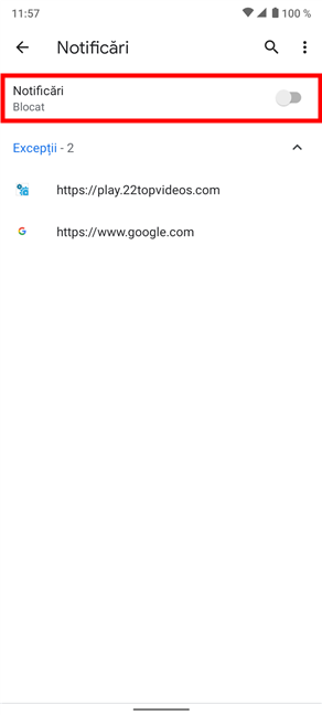 Oprește solicitările viitoare legate de notificări din Android