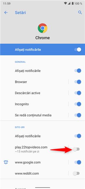 Apasă pe comutator pentru a opri spamul din notificările Chrome trimise de site