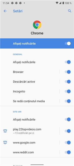 Ecranul de setări Notificări din Chrome