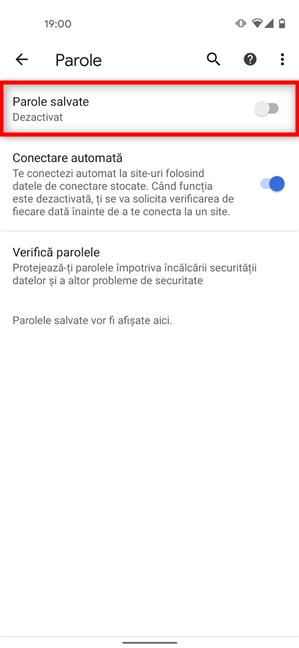 Dezactivează comutatorul ca Chrome să nu mai întrebe dacă salvează parole pe Android